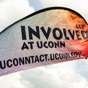 Students talk to representatives from various clubs at UConn's annual Involvement fair on Fairfield Way at Wednesday.   Sept. 14, 2016. (Garrett Spahn/UConn Photo)